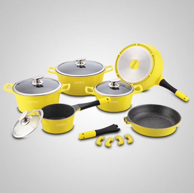 Набор кастрюль с мраморным покрытием Royalty Line  RL-ES1014M  Yellow