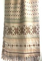 Бежевый плед шаль из шерсти Индия, Непал. Купить в интернет магазине, Москва