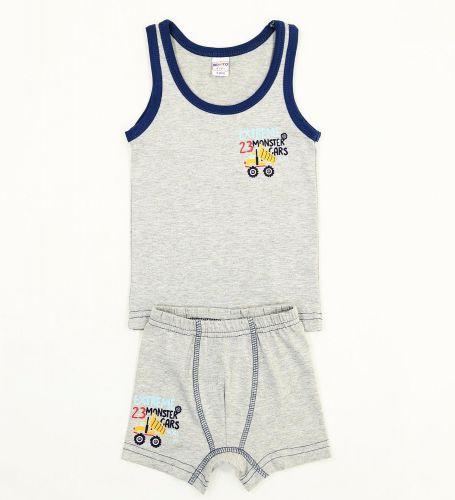"Комплект белья для мальчика Bonito kids 2-6 лет ""Monster Cars"" серый меланж"
