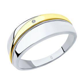 Кольцо из золочёного серебра с бриллиантом 87010030 SOKOLOV