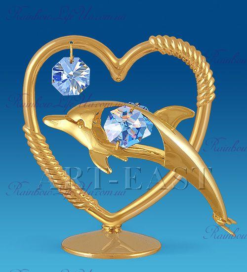 """Фигурка сердце с дельфином с камнями """"Swarovski"""""""