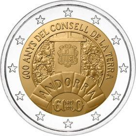 600 лет Генеральному Совету долин Андорры 2 евро Андорра 2019