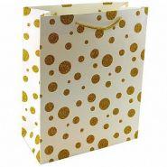 """Пакет подарочный """"Золотые кружки на белом"""" с глиттером, 26*32*10 см"""