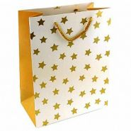 """Пакет подарочный """"Золотые звезды на белом"""" Тиснение фольгой, 26*32*10 см"""