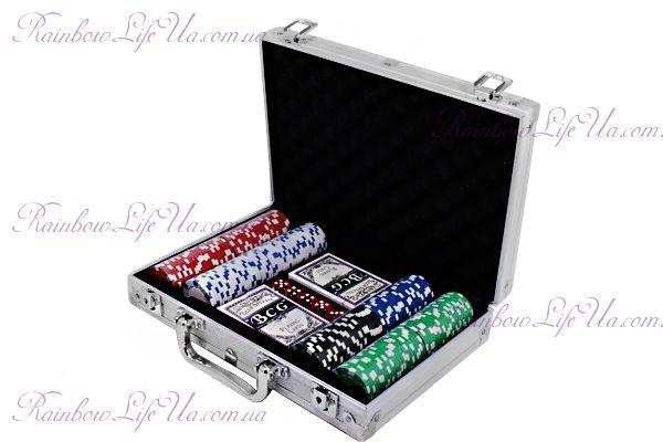 """Набор для игры в покер в алюминиевом кейсе 200 фишек, 2 колоды карт """"Duke"""""""
