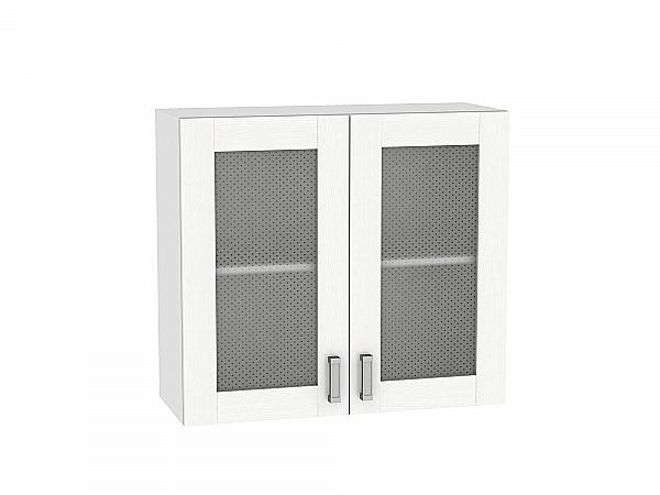 Шкаф верхний Лофт В809 со стеклом (Snow Veralinga)