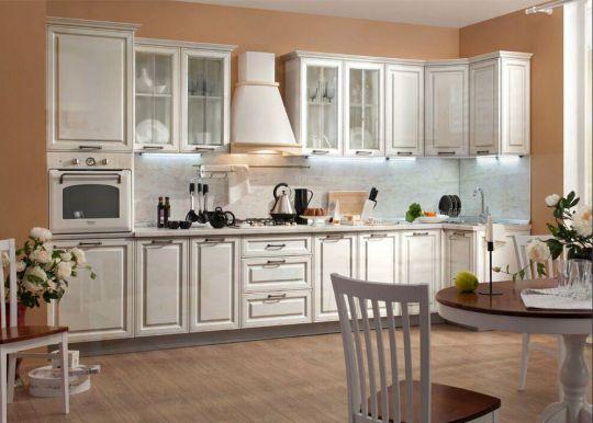 Кухня Атланта МДФ (белый глянец с патиной золото)