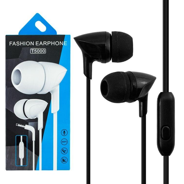 Проводные наушники Fashion Earphone T5000 черные с микрофоном для общения по телефону