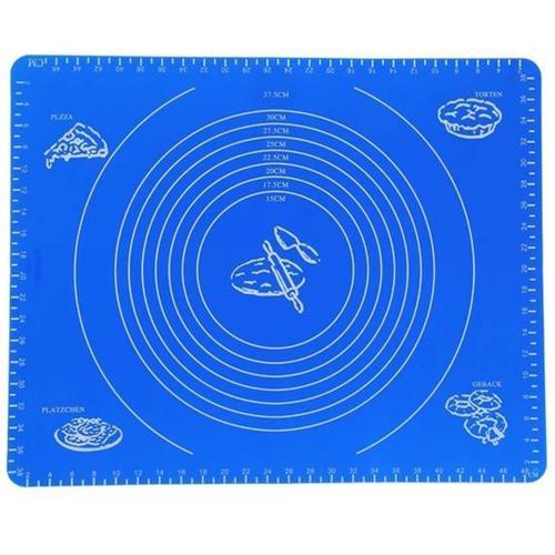 Силиконовый коврик для раскатывания теста, 50х40 см, цвет - синий.