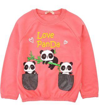 """Джемпер для девочек Bonito """"Love Panda"""" 2-6 лет коралловый"""