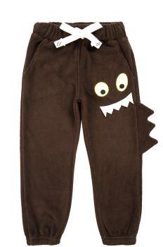 """Флисовые штаны для мальчиков Bonito kids 3-7 лет """"Монстрик"""" коричневые"""