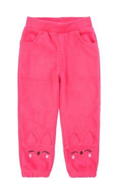 """Флисовые штаны для девочек Bonito kids 2-5 лет """"Cat"""" малиновые"""