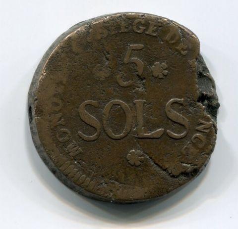 5 соль 1793 года Майнц Франция R!