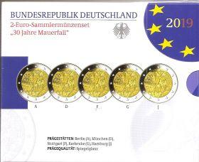 30 лет со дня падения Берлинской стены - все монетные дворы (A,D,F,G,J), PROOF Германия 2019