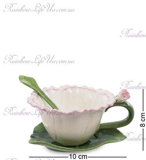 Чайная пара с ложечкой Гвоздика ''Pavone''