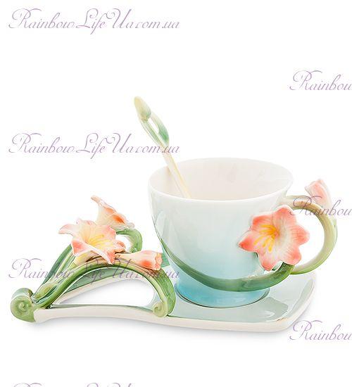 Чайная пара с ложкой Кливия ''Pavone''