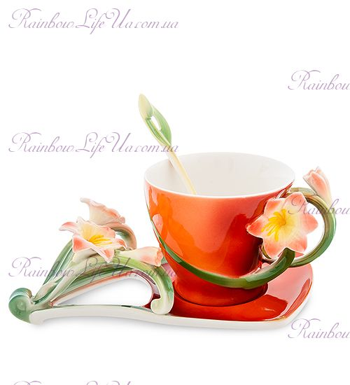 Чайная пара с ложечкой Кливия ''Pavone''