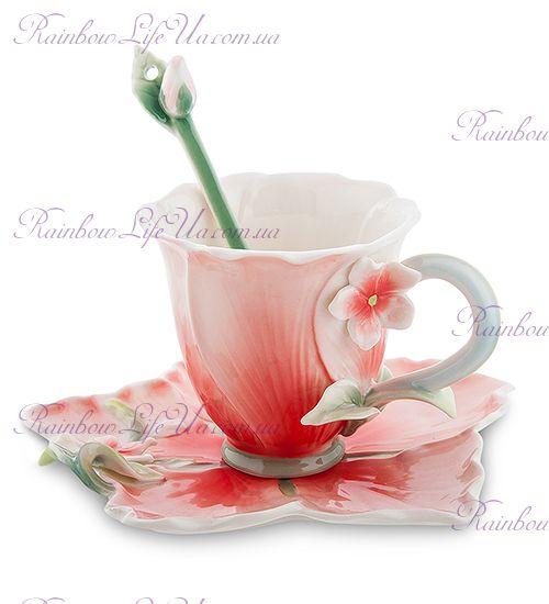Чайная пара с ложечкой Барвинок ''Pavone''