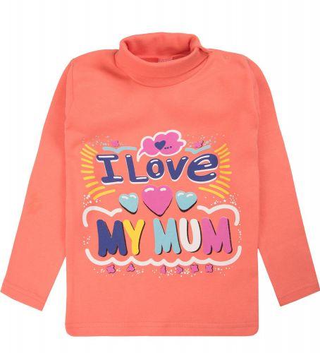 "Водолазка для девочек Bonito kids 1-4 года ""I love my mum"" коралловая"