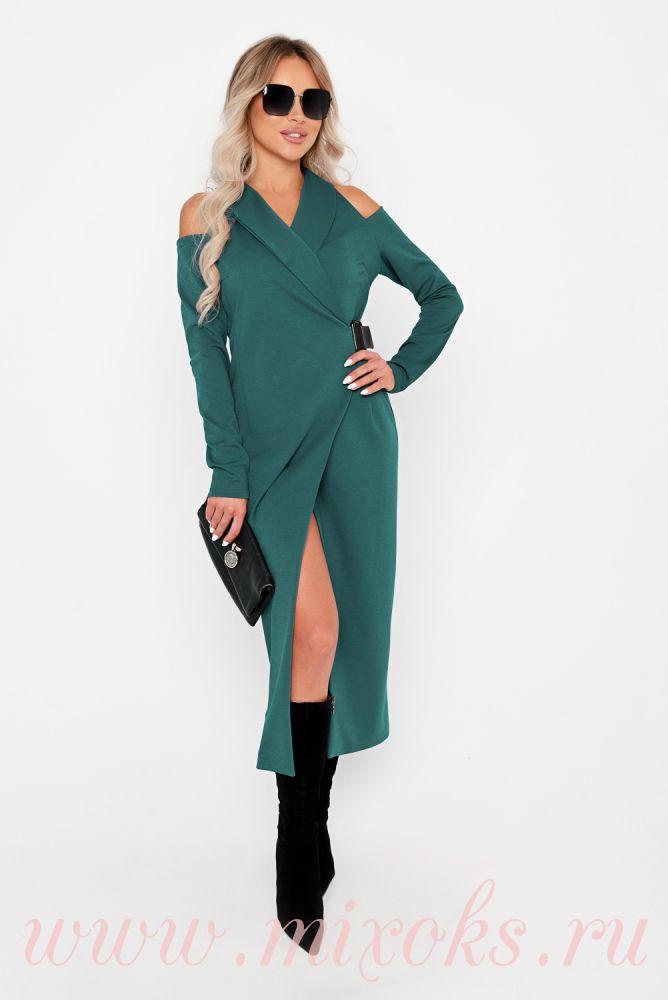 Платье миди зеленое на запахе