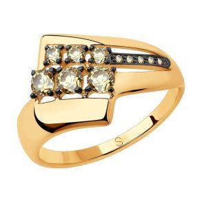 Кольцо из золота с жёлтыми Swarovski Zirconia 81010442 SOKOLOV