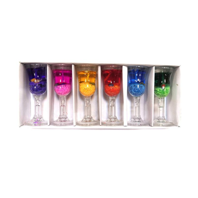 Свеча в бокале, гелевая, 3х8 см, 6 шт
