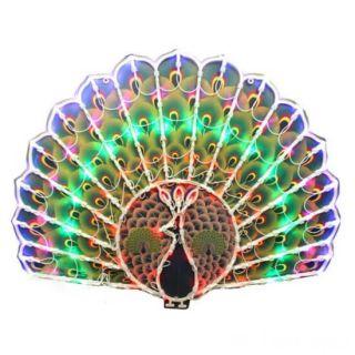 Новогодняя светодиодная фигура-панно Павлин, 40х50 см