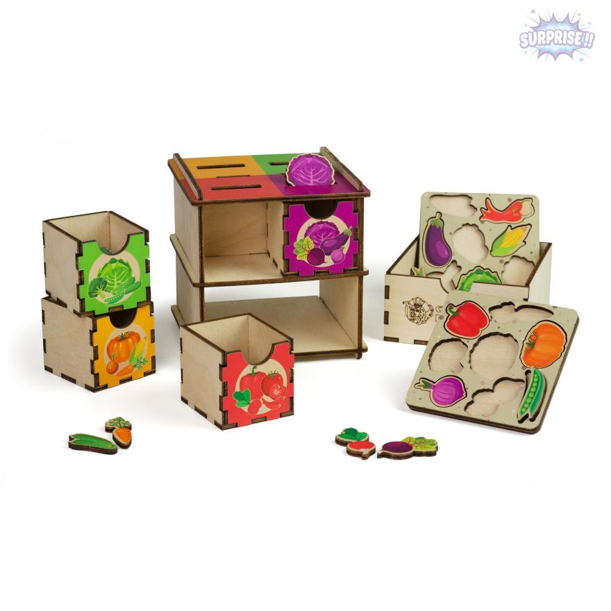 Комодик куб с принтом Овощи