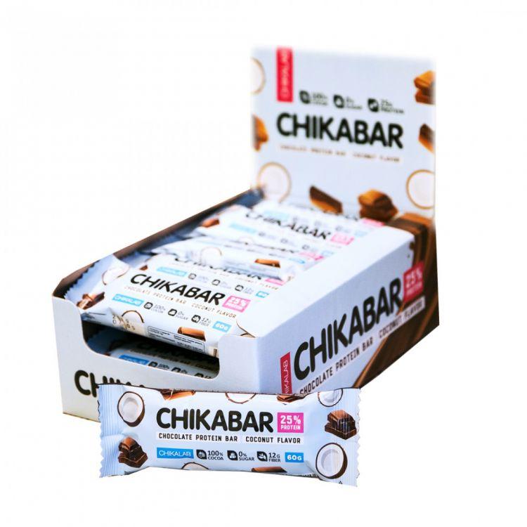 Протеиновый батончик в шоколаде Chikalab КОКОС С ШОКОЛАДНОЙ НАЧИНКОЙ 60 гр