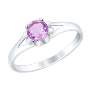 Кольцо из серебра с аметистом 92011510 SOKOLOV