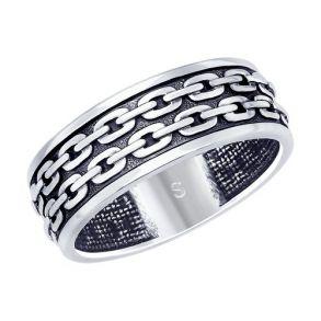 Кольцо из чернёного серебра 95010120 SOKOLOV