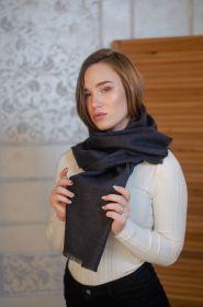 """стильный однотонный шарф 100% шерсть мериноса, расцветка """"Угольный""""  Charcoal BRUSHED MERINO, средняя плотность 4"""