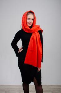 стильный однотонный шарф 100% шерсть мериноса, расцветка Огненно -оранжевый Vermillion Orange BRUSHED MERINO, средняя плотность 4