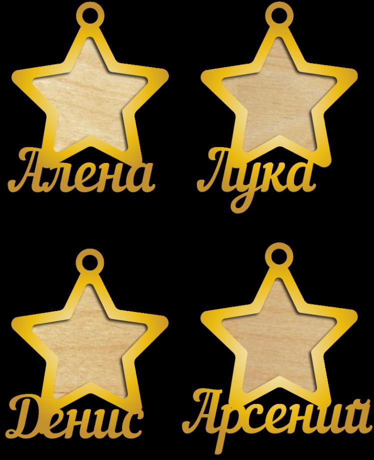 Новогодние игрушки фоторамки именные звезды