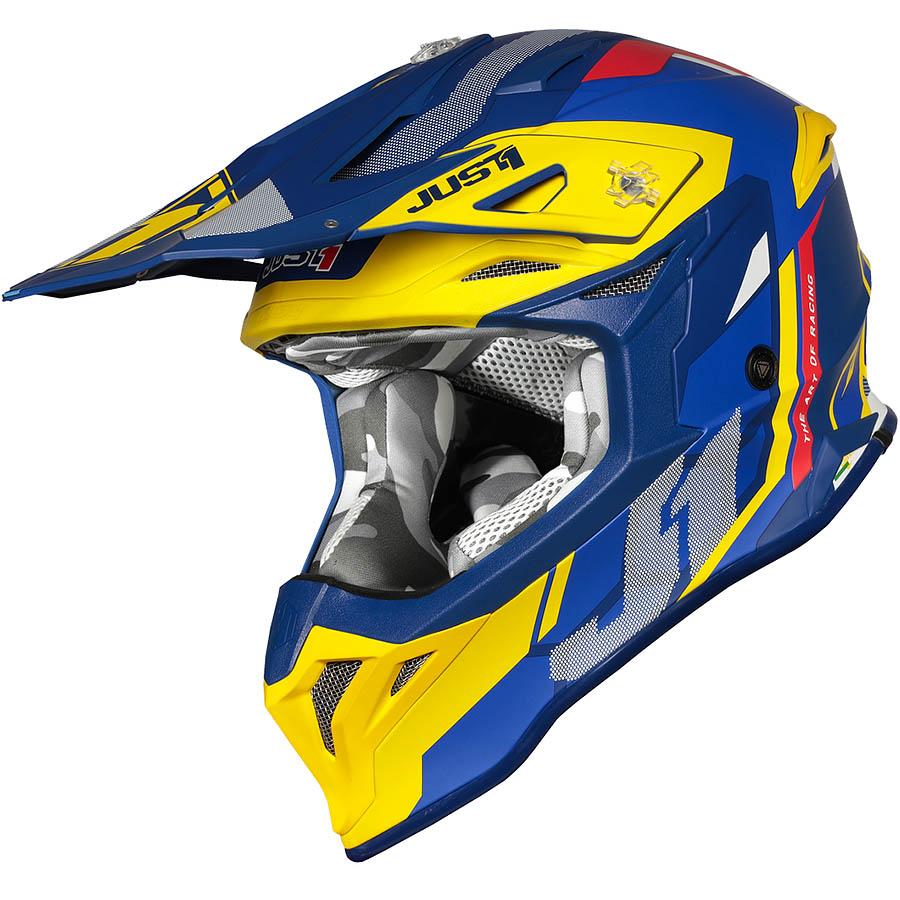 Just1 - J39 Reactor Yellow/Blue Matt шлем, желто-синий матовый