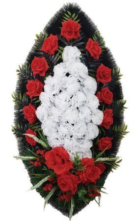 Фото Ритуальный венок из искусственных цветов - Классика #06 красно-белый с розами