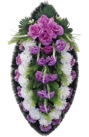 Фото Ритуальный венок из искусственных цветов - Классика #11 фиолетово-белый из роз и хризантем