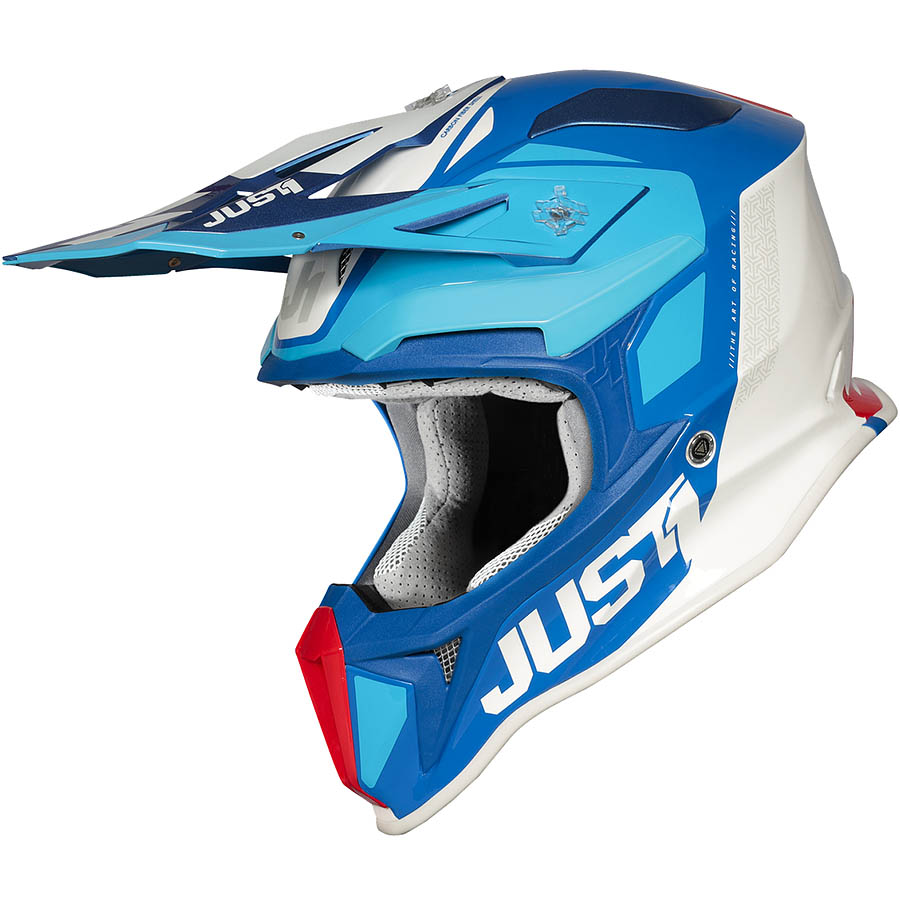 Just1 - J18 Pulsar Blue / Red / White Gloss шлем, сине-красно-белый