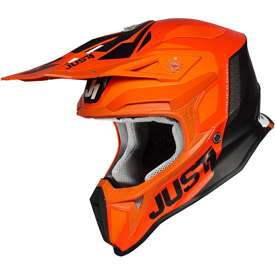 Just1 - J18 Pulsar Orange/White/Black Gloss шлем, оранжево-бело-черный