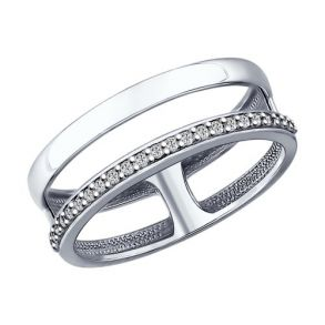 Кольцо из серебра с фианитами 94012151 SOKOLOV