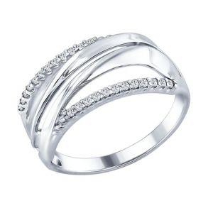 Кольцо из серебра с фианитами 94012313 SOKOLOV
