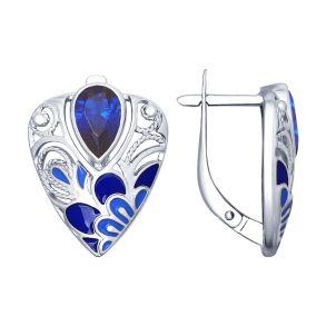 Серьги из серебра с эмалью с синими фианитами 94022574 SOKOLOV