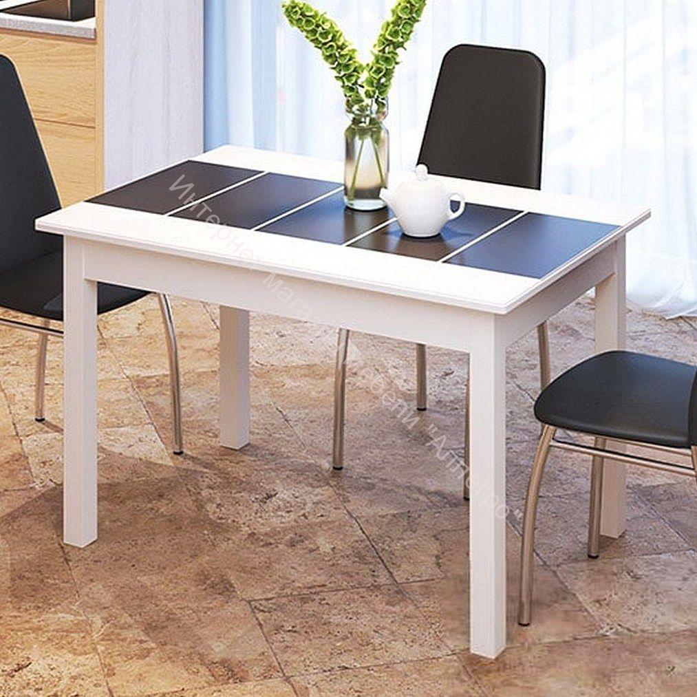 """Стол """"Техно"""" со стеклом 1100Х700 Белый/Чёрная вставка глянец"""