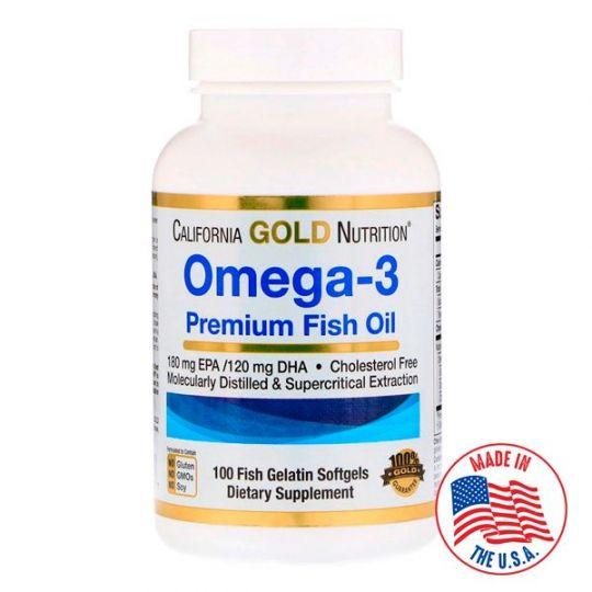 Омега-3 California Gold Nutrition, рыбий жир высшего качества, 100 желатиновых капсул с рыбьим жиром