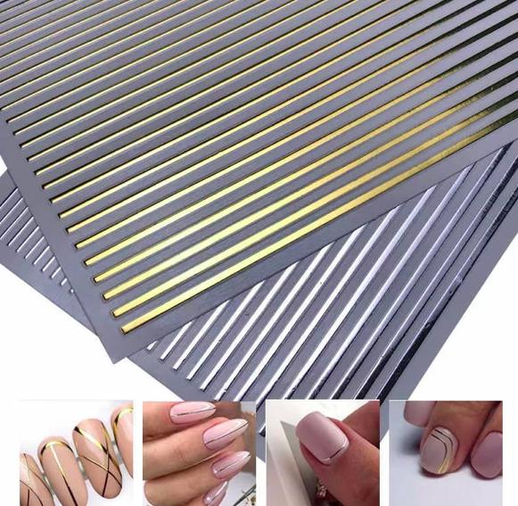 Полоски для ногтей серебро