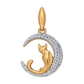 Подвеска «Кошечка на луне» из золота с фианитами 034577 SOKOLOV