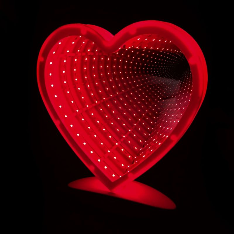 Зеркальный Ночник С Эффектом Бесконечности, Форма Сердце