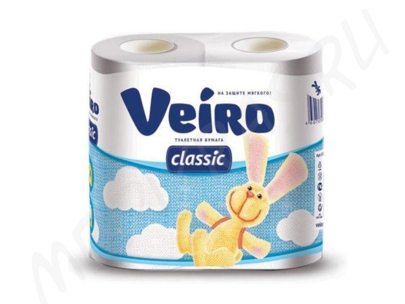 """Туалетная бумага """"Veiro"""" Classic 2-х слойная белая 4 рулона"""