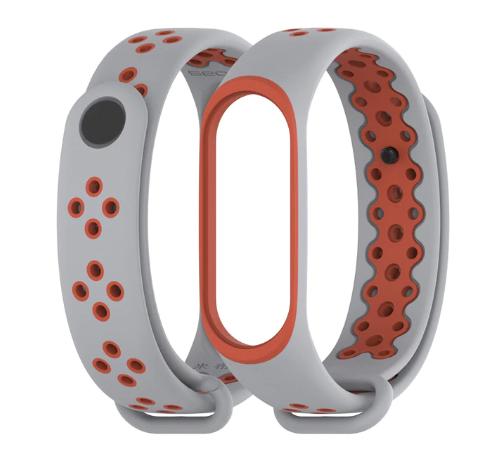 Силиконовый ремешок Mijobs для Xiaomi Mi Band 3  ( Серо-красный )