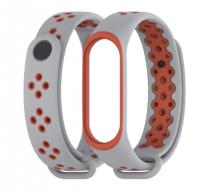 Силиконовый ремешок Mijobs для Xiaomi Mi Band 3/4  ( Серо-красный )